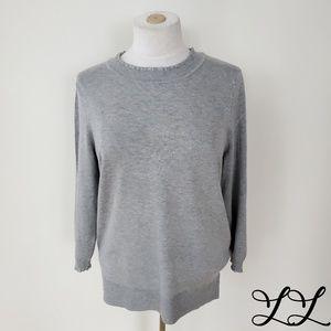 Max Studio Top Shirt Sweater Gray Ruffles Knit